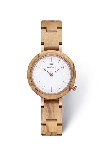 KERBHOLZ Holzuhr - Classics Collection Matilda analoge Quarz Uhr für Damen, Gehäuse und verstellbares Armband aus massivem Naturholz, Ø 27mm, Olivenholz Weiß