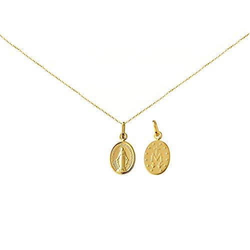 Diamantly - Cadena de medalla virgen milagrosa de oro amarillo (45 cm)