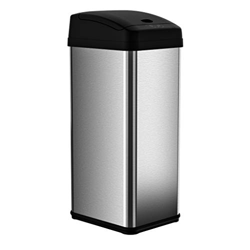 iTouchless Dual-Deodorizer Oval Open Top Trash Can, Commercial Grade, Stainless Steel, 16 gallon/60 Liter, 12-Inch Opening by iTouchless (Itouchless Papierkorb)