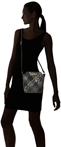 SwankySwansSally Weave Pu Leather Shoulder Bag Navy Blue - Borsa a tracolla donna Grey