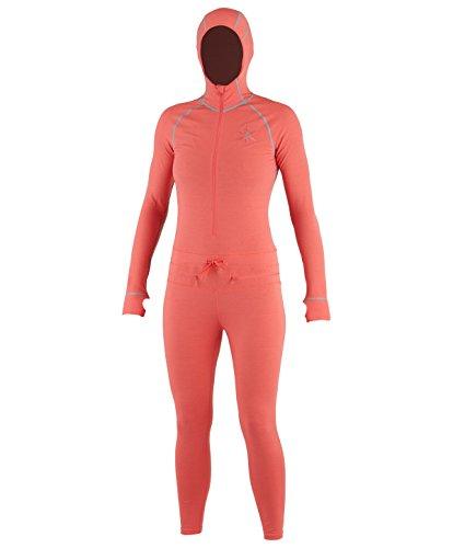 AIRBLASTER Damen Kapuzen Outdoor Base Layer Ninja Anzug, Damen, Korallenrot, (Regen Anzug Kostüm)
