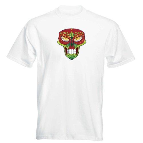 T-Shirt - Matey Skull 28 - Totenkopf - Sugar Skull - Herren - unisex Weiß