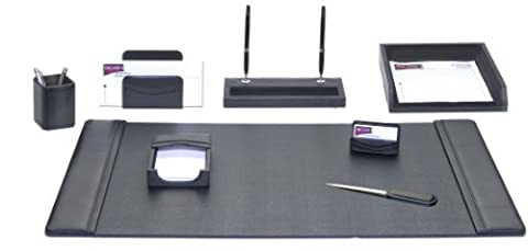Dacasso Leather Desk Set, 8-Piece, Black by Dacasso