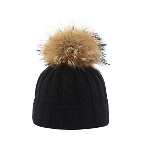 Floweworld Parent-Child Warm Knitted Hat Knitting Wool Hemming Keep Warm Faux Fur Ball Beanie Hat Soft Thick Winter - Kreuz Mitarbeiter Kostüm