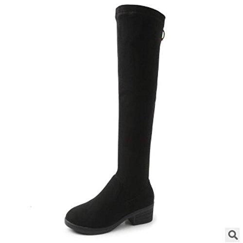 HSXZ Scarpe donna pu Autunno Inverno Comfort stivali Chunky tallone punta tonda coscia-alti stivali per Nero Casual Black