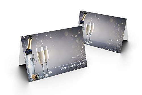Karten24Plus 50 Tischkarten (Sektflasche) UV-Lack glänzend - für Hochzeit, Geburtstag, Jubiläum. als Tischdekoration! Format 8,5 x 11,2 cm