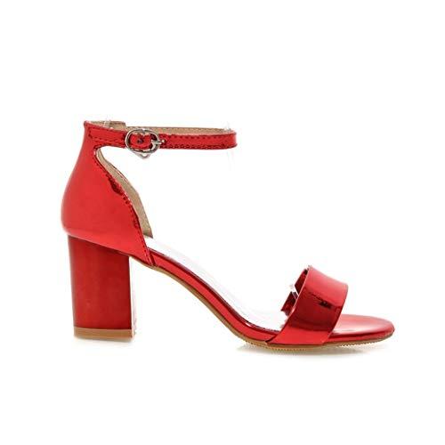 Patent Chunky Heel Sandal (Frauen Platz High Heel Sandalen Sommer Openback Patent Leathe Party Hochzeit Schuhe Damen Knöchel Schnalle Pumps)