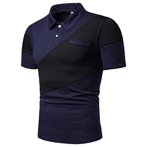 Celucke Polohemd Poloshirt Mit Brusttasche, T Shirt Männer Freizeit Spleißen Polohemden Polo Hemd Mit Farblockdesign (Blau,M)