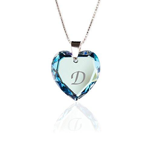 Kristallwerk Kette 925 Silber mit Swarovski Elements Herzanhänger Farbe Blue AB und Gravur Buchstabe D