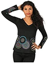 Aller Simplement - T-Shirt femme en coton à manches longues col V Aller Simplement TS916