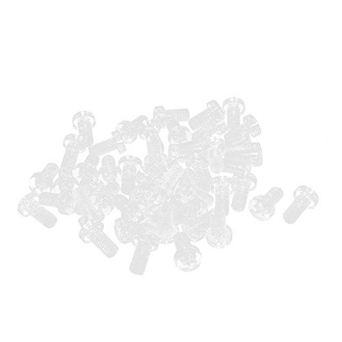M6 x 12 mm, 1 mm Steigung Philips Pan Kopf MASCHINENSCHRAUBE-Bolzen, transparent, 50 Stück (Acryl-pan)
