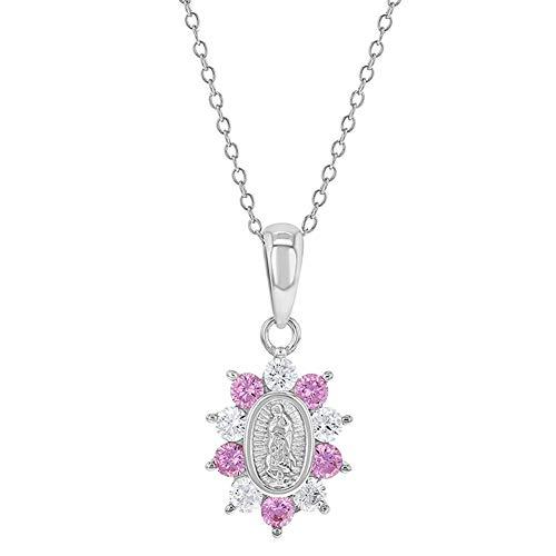 Medalla de plata de ley 925 con colgante de circonita cúbica de color rosa claro, collar de 40,64 cm