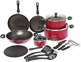 طقم ادوات مطبخ من الالمنيوم مقاومة للالتصاق من 17 قطع، احمر، من بريستيج - PR21822