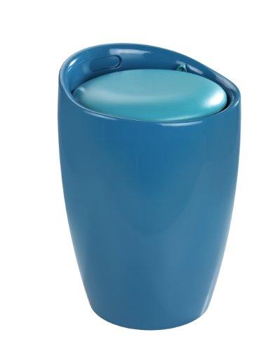WENKO 20625100 Hocker Candy Petrol  - Badhocker, mit abnehmbarem Wäschesack(100 % Polyester), Kunststoff - ABS, 36 x 50.5 x 36 cm, Petrol