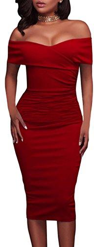 Tubino lunghezza ginocchio party vestito elegante abito aderente cerimonia Rosso