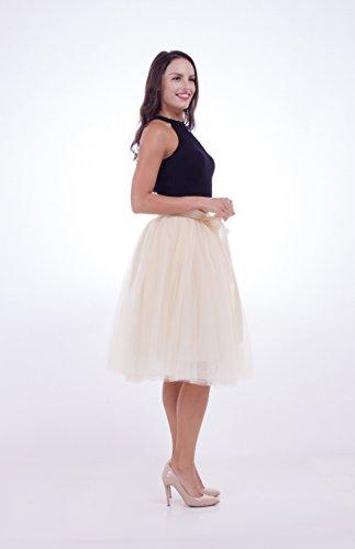 SCFL Women's Tutu Skirt Midi Tulle Skirts 7 Layers Petticoat Underskirt Ballet Skirt Bubble Ball Gown Half Slip Underskirt with Elastic Belt for Wedding Party Beige