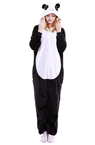 ABYED® Kostüm Jumpsuit Onesie Tier Fasching Karneval Halloween kostüm Erwachsene Unisex Cosplay Schlafanzug- Größe M - für Höhe 156-163CM, Panda (Panda Kostüm Kind)