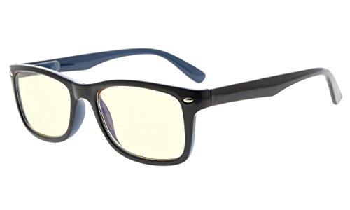 Eyekepper Computer Lesebrille,UV Schutz,Blendschutz,Entspiegelt Computer Leser (Schwarz Blau, Gelb getönte Gläser) +1.25