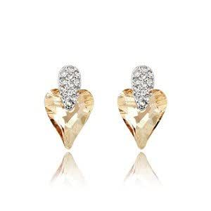 GoSparking Champagne Gold Heart Crystal 18K White Gold Plated Alloy Earrings with Austrian Crystal For Women ER28268