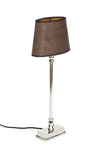 Brillibrum Design Tischleuchte Tisch-Lampe Lampenschirm Im Reptilien-Look Leguan Braun Lampenfuß Metall Silber Glänzend Nachttischlampe Schlangen-Muster -