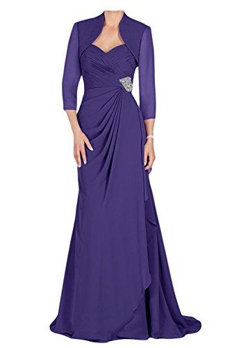 Gorgeous Bride Modisch Traegerlos Lang Etui Chiffon Mit Bolero Brautmutterkleider Abendkleider Ballkleider Dunkel-Lila