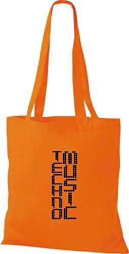 ShirtInStyle Stoffbeutel Musik Beutel Techno Music Baumwolltasche Beutel, diverse Farbe orange