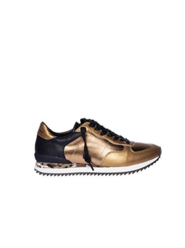 ZERO CENT CINQ Damen Beata Sneaker mit Reptil-Optik gold-schwarz gold 41