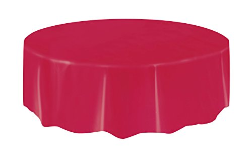 Round Red Plastic Tablecloth, 7ft
