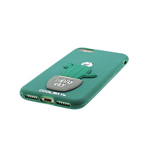 Copertura iPhone 6S, Bumper TPU Gel protettivo in gomma morbida Case Cover Copertura per iPhone 6/6s 4.7 , Cartoon bianca Poodle Dog verde