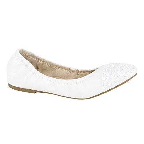 Klassische Damen Ballerinas Lederoptik Slipper Flats Schuhe Weiss Weiss Glitzer