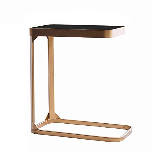 ZHIRONG Ausgeglichenes Glas Sofa Beistelltisch Nordic Modernes Schlafzimmer Nachttisch Laptop Tisch Wohnzimmer Couchtisch Snack Tisch (Farbe : Gold) - Glas-modernen-sofa-tisch