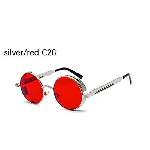 DYFDHA Sonnenbrillen NEW High Quality Brand Designer Gothic Steampunk Round Metal Sunglasses Men Women Mirrored Circle Glasses Vintage Oculos UV400 silver red