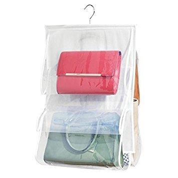 mDesign Handtaschen Ablage – hängender Stoffschrank mit Sichtfenstern – Hängeaufbewahrung für...