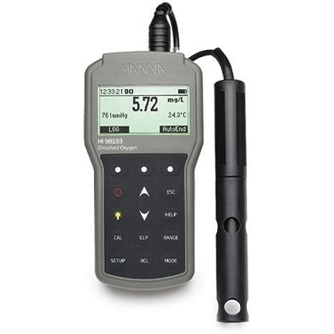 HI98193 - Misuratore portatile di Ossigeno Disciolto/BOD/OUR/SOUR/Pressione Atmosferica/Temperatura a tenuta stagna, con display grafico, scala DO da 0.00 a 50.00 ppm, memoria dati, interfaccia USB, fornito in valigetta rigida con sonda DO HI764073 polaro