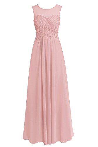 Bbonlinedress Bodenlang Cocktail-kleider ärmellos Damen Abendkleider Blush