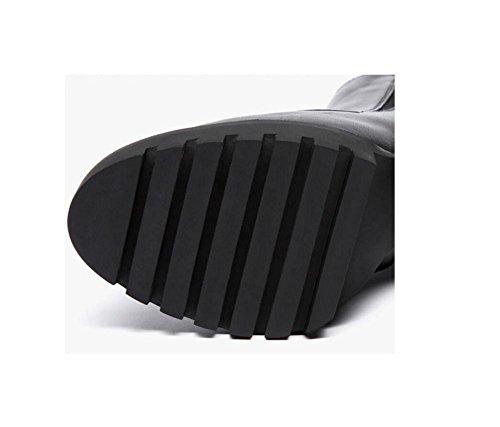 YYH La tête ronde à la mode en cuir bande cheville bottes imperméables élastiques de femme haut talon bottes moto Martin Black