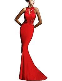 Damen Partykleid Elegant Lace Rückenfrei Maxi Lang Satin Träger Fishtail  Kleid Abendkleid Cocktailkleid Evening Dress Weiss 52438d627d