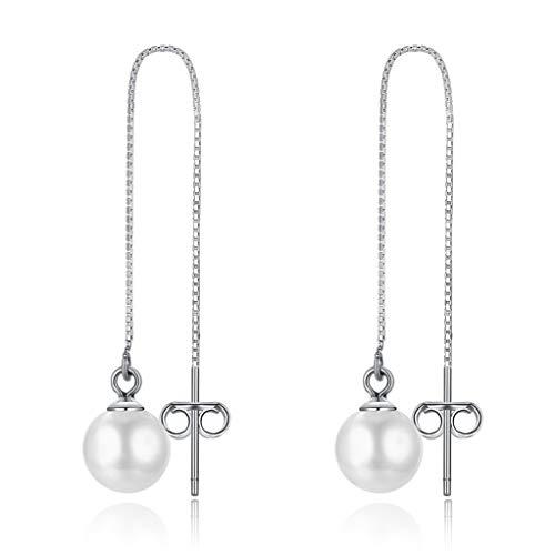Zolkamery Damen Perle Ohrringe 925 Sterling Silber Durchzieher Threader Lange Box Kette Ohrhänger...
