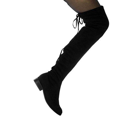 Angkorly Damen Schuhe Oberschenkel-Boot - Reitstiefel Kavalier - Biker - Flexible - Spitze Blockabsatz 3 cm Schwarz