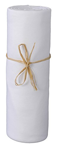 P'tit Basile - Drap housse bébé 40x80 cm, blanc, en Jersey de coton Bio, pour berceau ou nacelle, extensible. Coton peigné de qualité supérieure