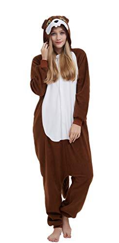 SAMGU Adult Pyjama Cosplay Tier Onesie Body Nachtwäsche Kleid Overall Animal Sleepwear Erwachsene Jumpsuit Costume Eichhörnchen M