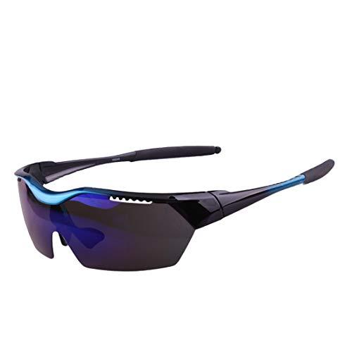 Retro Vintage Sonnenbrille, für Frauen und Männer PC Fluorescent Green Polarized Sport Sonnenbrille Anti-UV for Radfahren Laufen Angeln Golf Klettern Unisex Männer Frauen Winddicht (Farbe : Blau)
