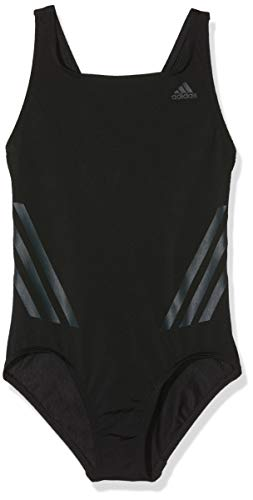 adidas Mädchen Pro V 3-Streifen Badeanzug, Black/Carbon, 152 (Mädchen Adidas Badeanzug)