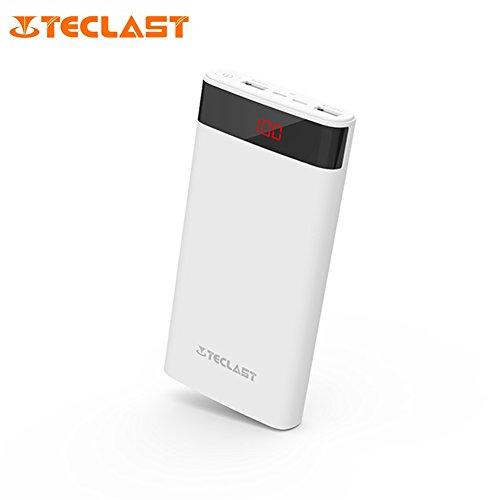 Mini Power Bank Tragbares Ladegerät 20000mAh Digital großes Display superdünn Dual USB-Schnittstelle 2.1A High Speed Ausgang Dazzling für Teclast t200cf weiß weiß