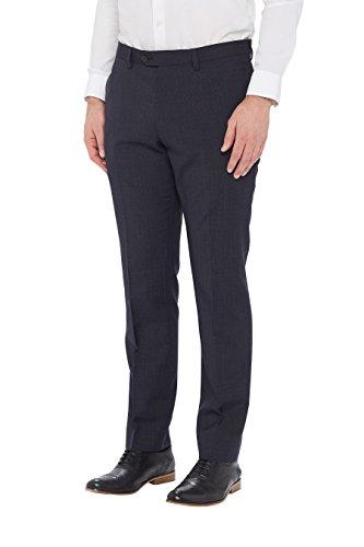 next Homme Coupe Slim Pantalon Texturé Bleu Marine Carreaux