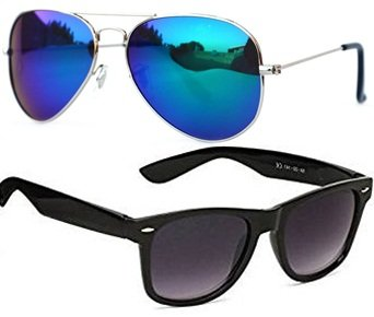 Sheomy Unisex Combo Pack of Aviator and matte wayfarer Sunglasses for Men and Women - Mirrored Sunglasses ( Black Matte Wayfare - Mercury Blue ) (CM-NEW-AV-0051)
