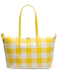 Lacoste Women's Concept Fantaisie Gingham Zippered Tote Bag