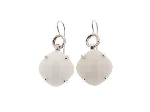 Everdaygioielli orecchini pendenti in argento 925 con pietra in agata bianca forma quadrata e taglio briolettè argento rodiato in oro bianco gioiello prodotto in italia