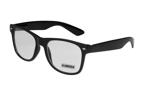 Preisvergleich Produktbild X-CRUZE® 1-001 X05 Nerd Brille ohne Stärke Vintage Retro Style Stil Klarglas Hornbrille Modebrille Unisex Herren Damen Männer Frauen Streberbrille schwarz