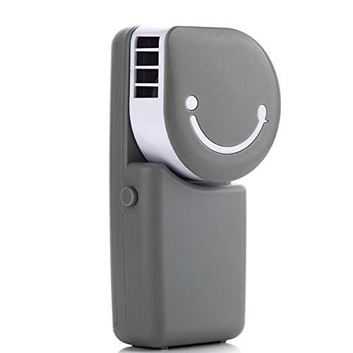 Handaufladung Klimaanlage Smiley-Lüfter Tricolor Optional USB Tragen Blattlosen Lüfter Strand Wandern Camping Grill,Gray ()